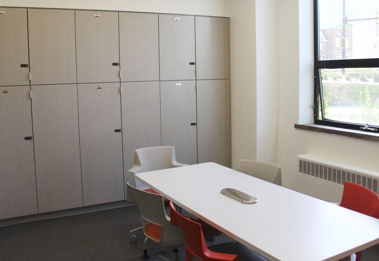 Lockable storage cabinets in the Student Engagement & Collaboration Area