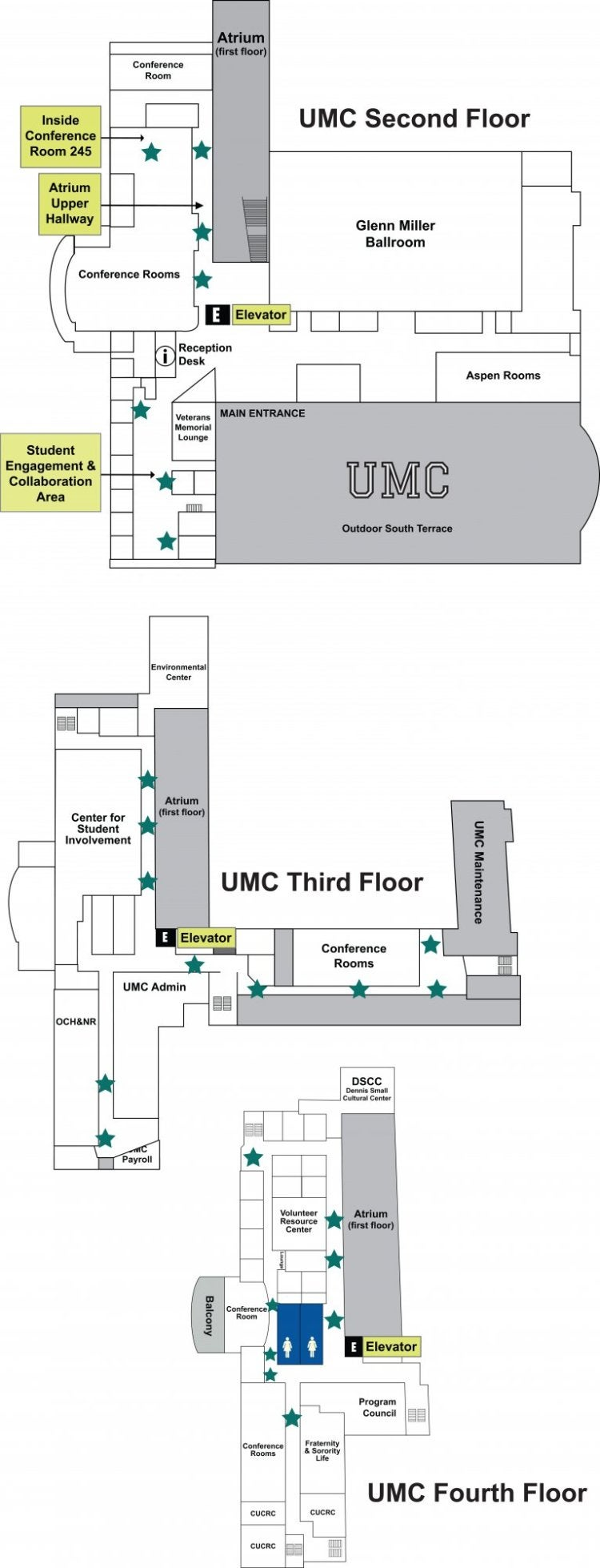 Map of the UMC Student Arts Program Display Areas on the second, third and fourth floor of the UMC