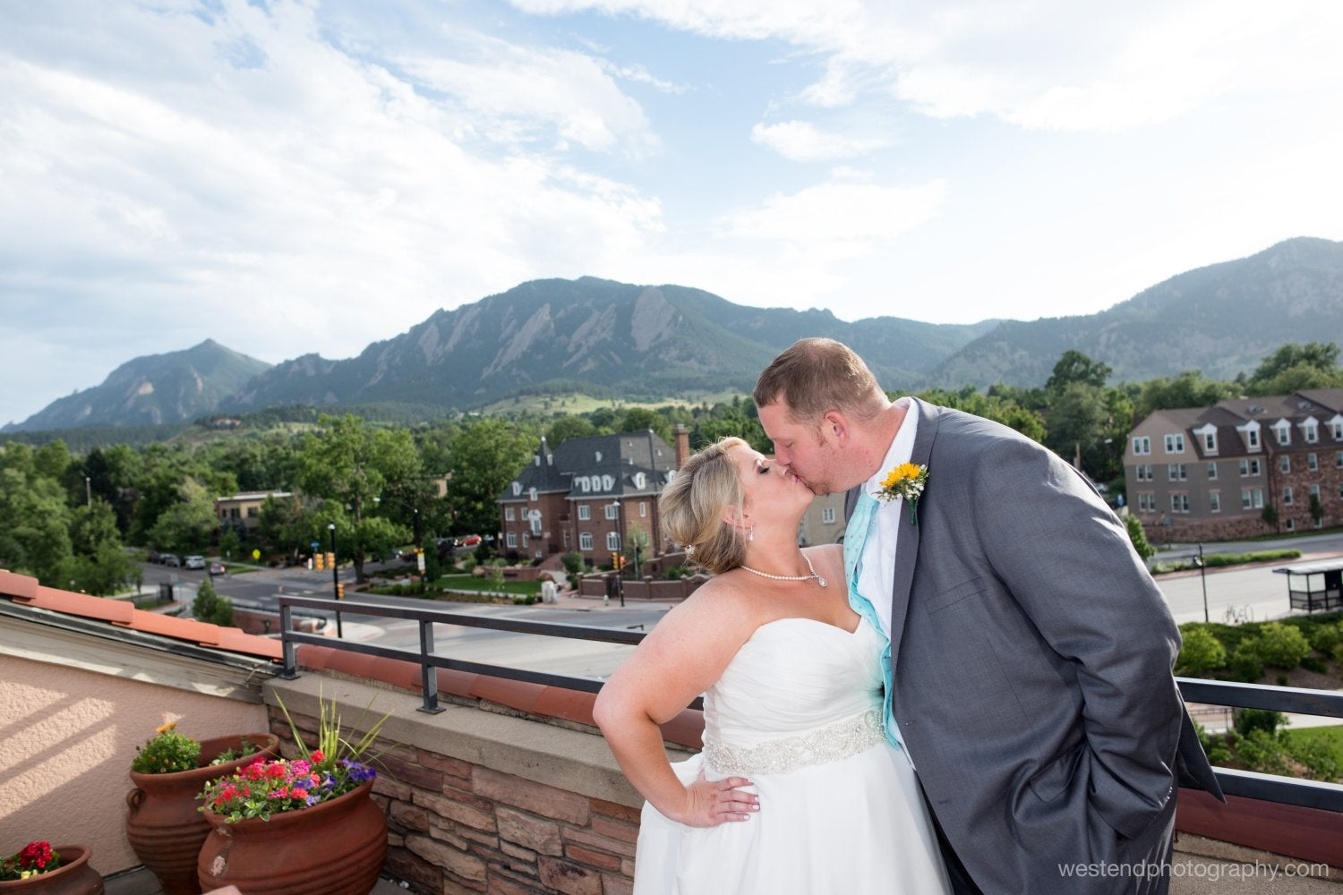 Bride and groom on the UMC rooftop at their wedding