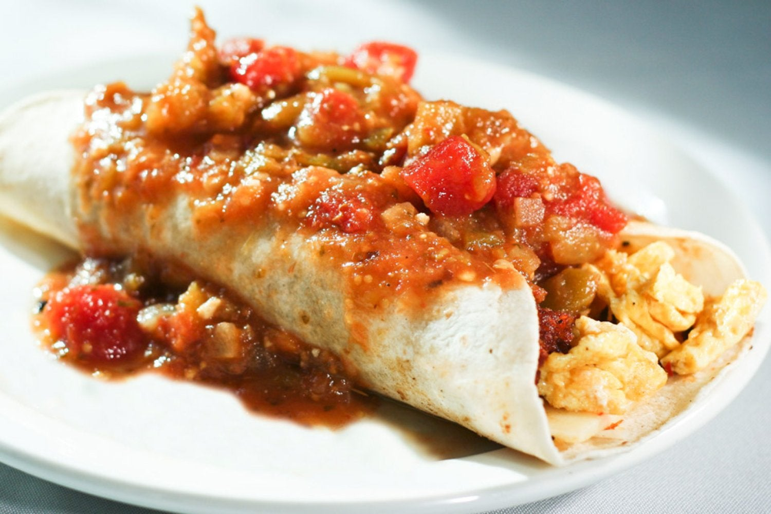 Breakfast Burrito - a favorite smothered with green or red chili