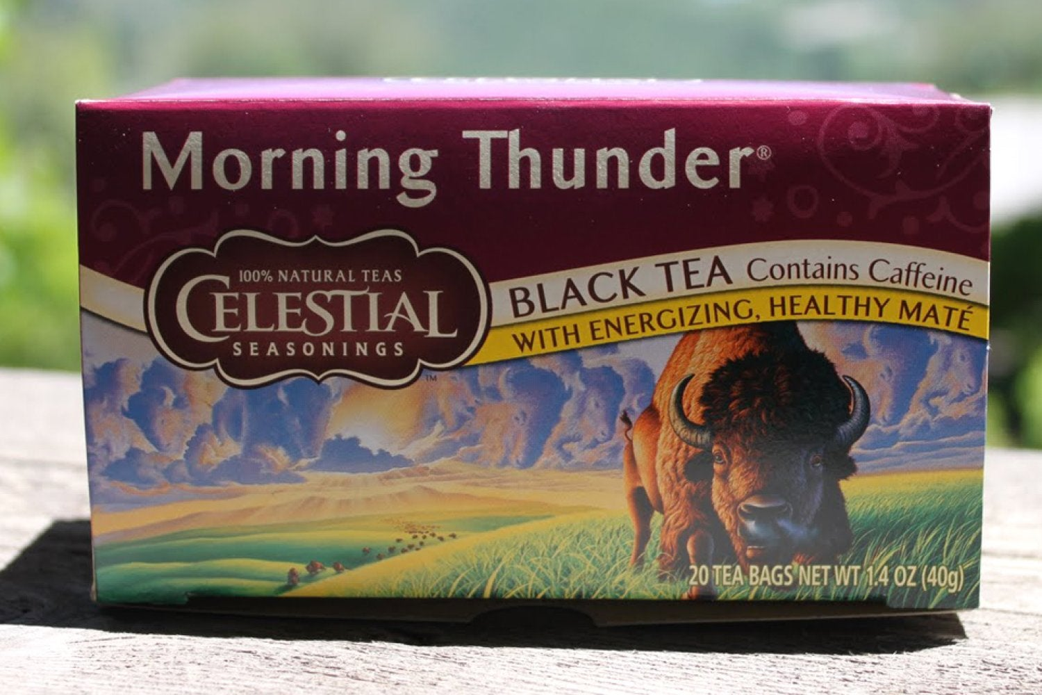 A photo showing a box of Morning Thunder Tea, to get your day started!