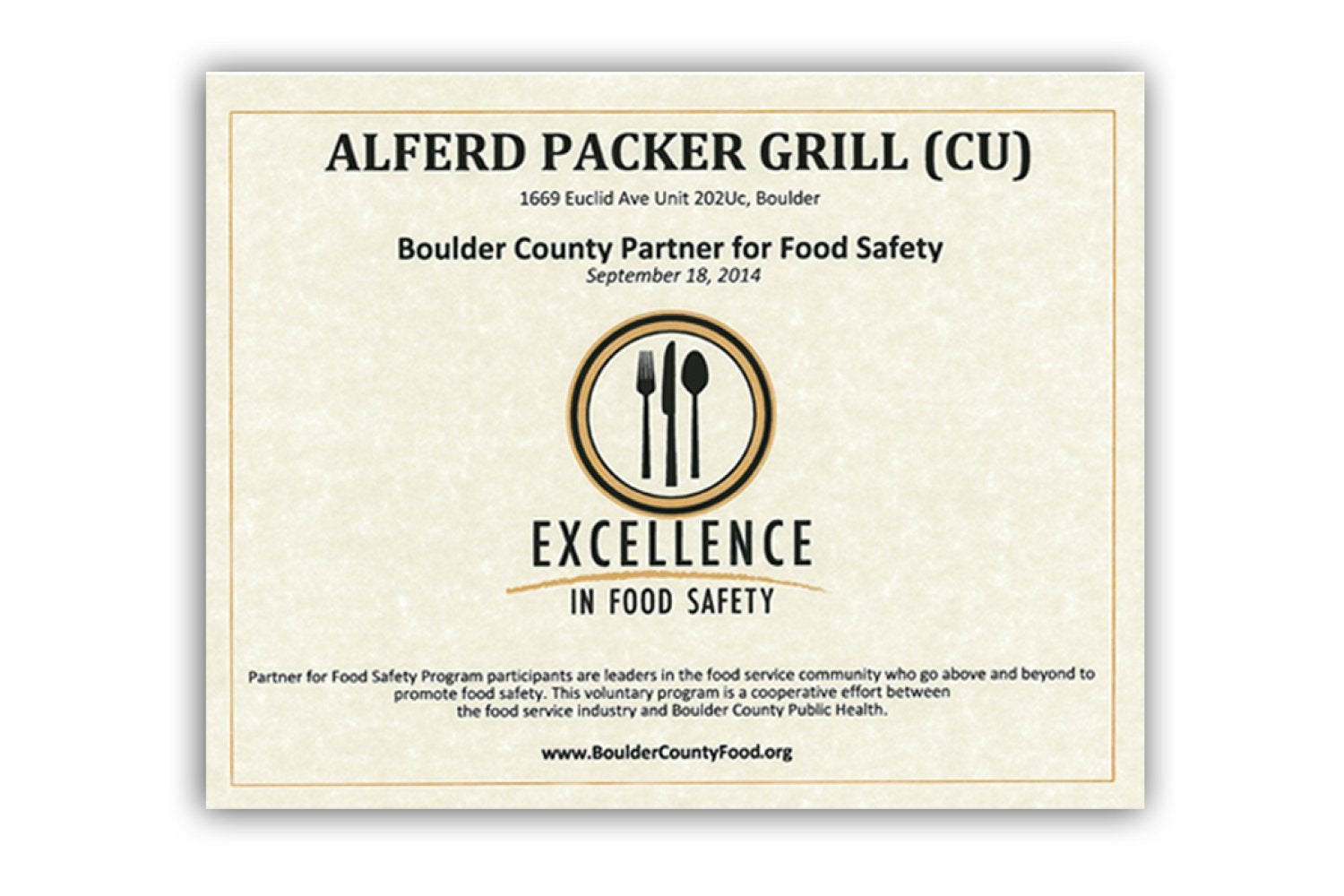 Boulder County Excellence in Food Safety certificate awarded to the UMC Alferd Packer Grill