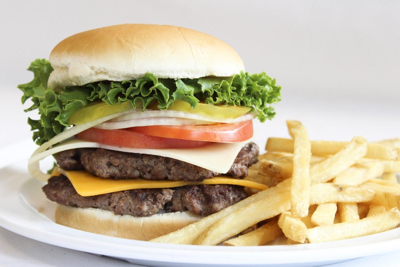 Slumgullion Grill hamburger with fries