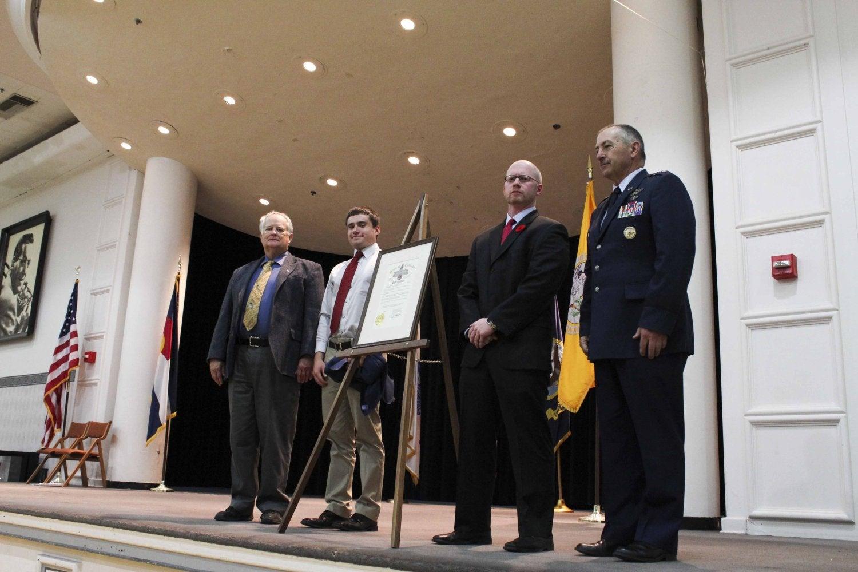 A photo taken of the re-dedication of the UMC as Colorado's Official State Memorial to Colorado Veterans.