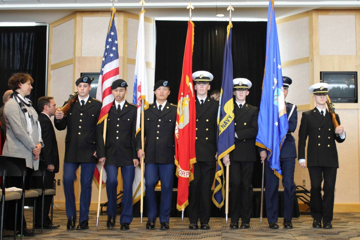 A photo showing the Color Guard presentation at the 2014 Veterans Day Ceremony