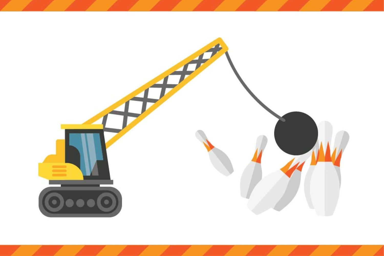 An illustration of a crane with a wrecking ball knocking over bowling pins