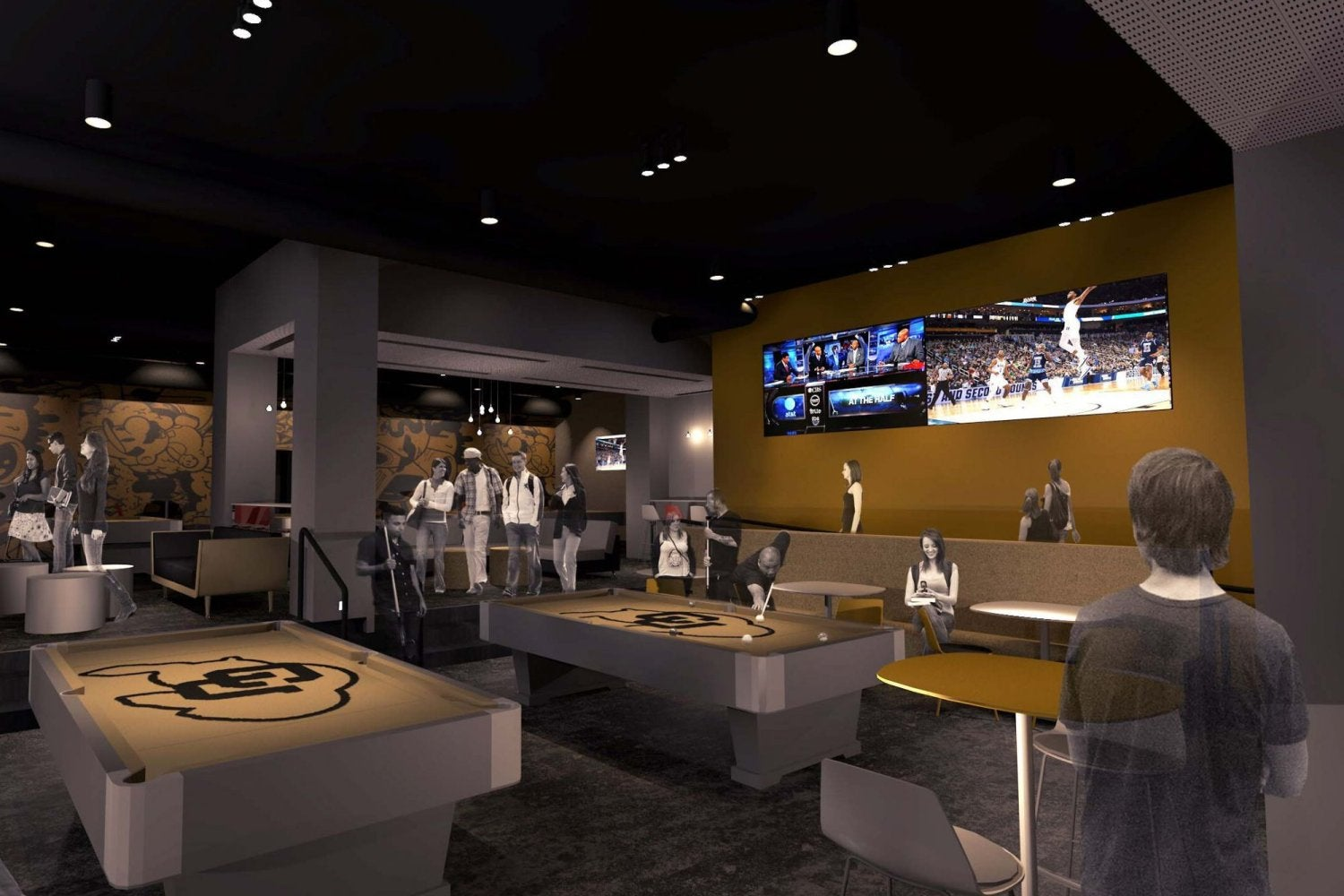 A rendering of what The Connection billiards area will look like after renovation