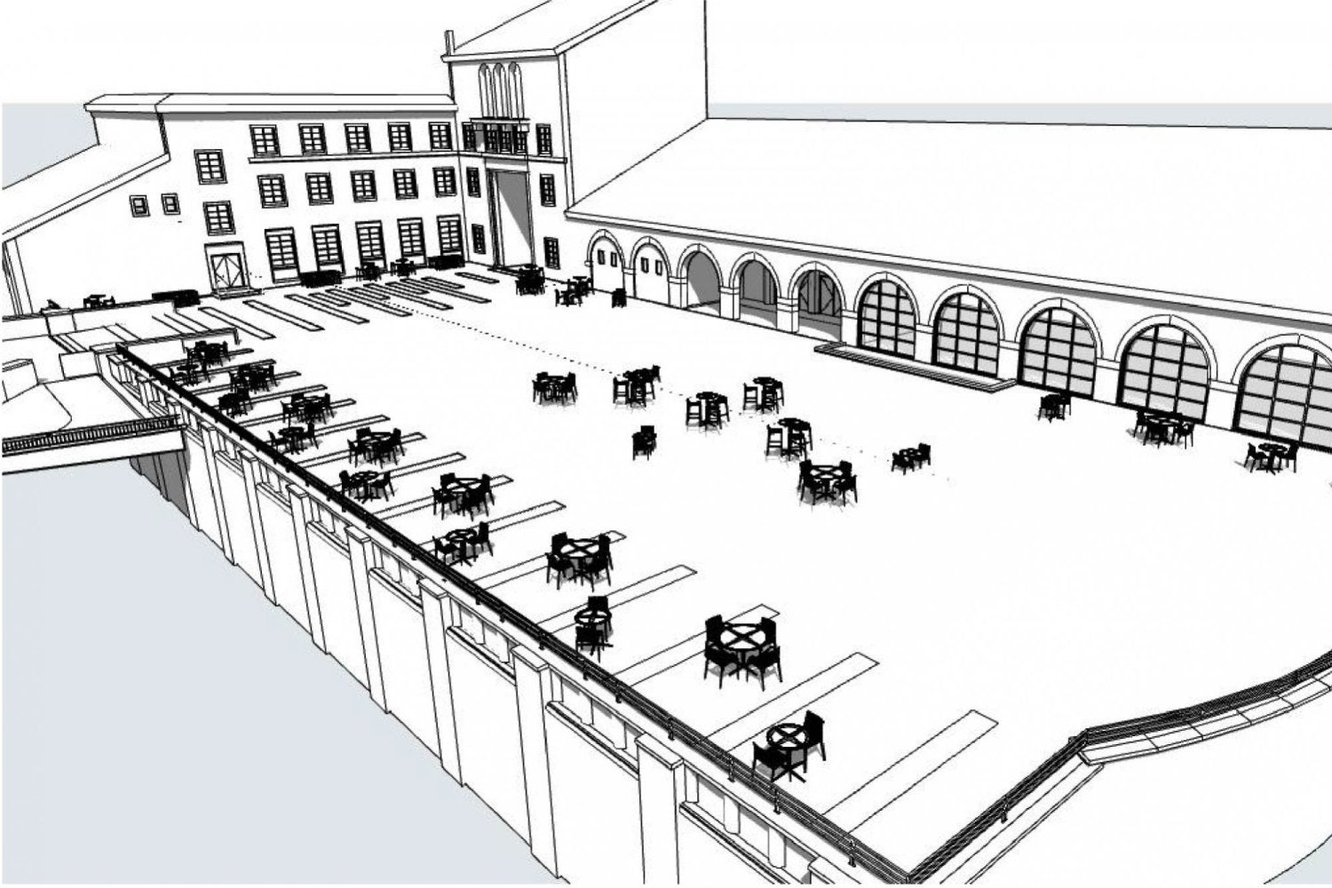 UMC South Terrace renovation rendering - View from southeast