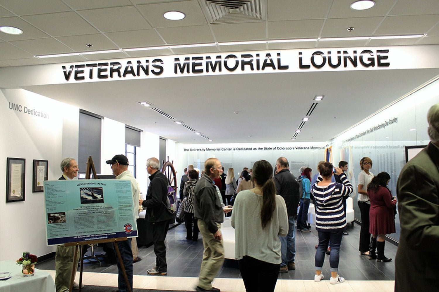 The grand opening of the renovated Veterans Memorial Lounge in the UMC