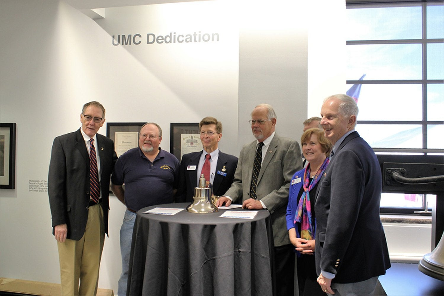 Vistors at the grand opening of the renovated Veterans Memorial Lounge in the UMC