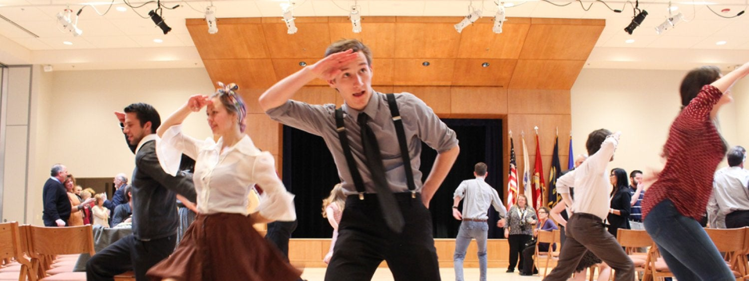 A photo of a student dance 'flash mob' in the new Glenn Miller Ballroom, Jan. 27, 2015