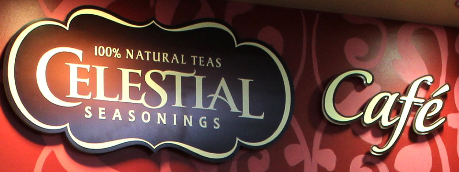 Celestial Seasonings Cafe sign - teas and coffees