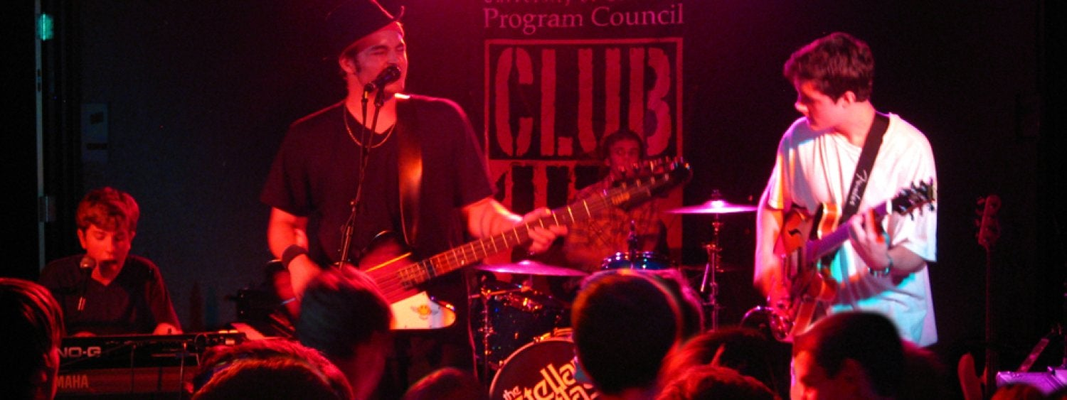 Live concerts are held in Club 156, UMC's alcohol-free club on the 1st floor by The Connection Bowling, Billiards & Games, sponsored by Program Council Concert