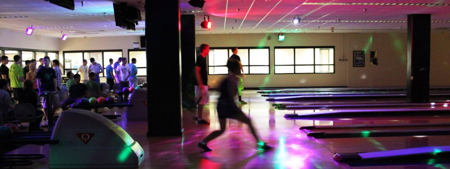 A photo showing the colorful lights during Friday and Saturday Night Extreme Bowling.