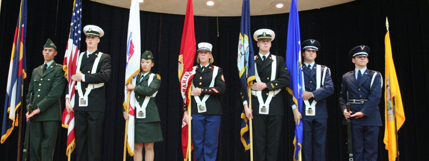 Color Guard presentation at UMC Veterans Day Ceremony