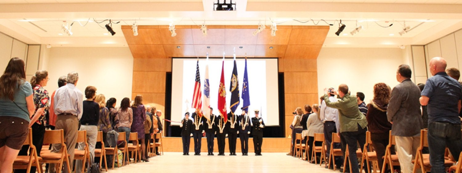 A ROTC Color Guard is shown presenting the colors in the newly renovated Glenn Miller Ballroom, Jan. 27, 2015