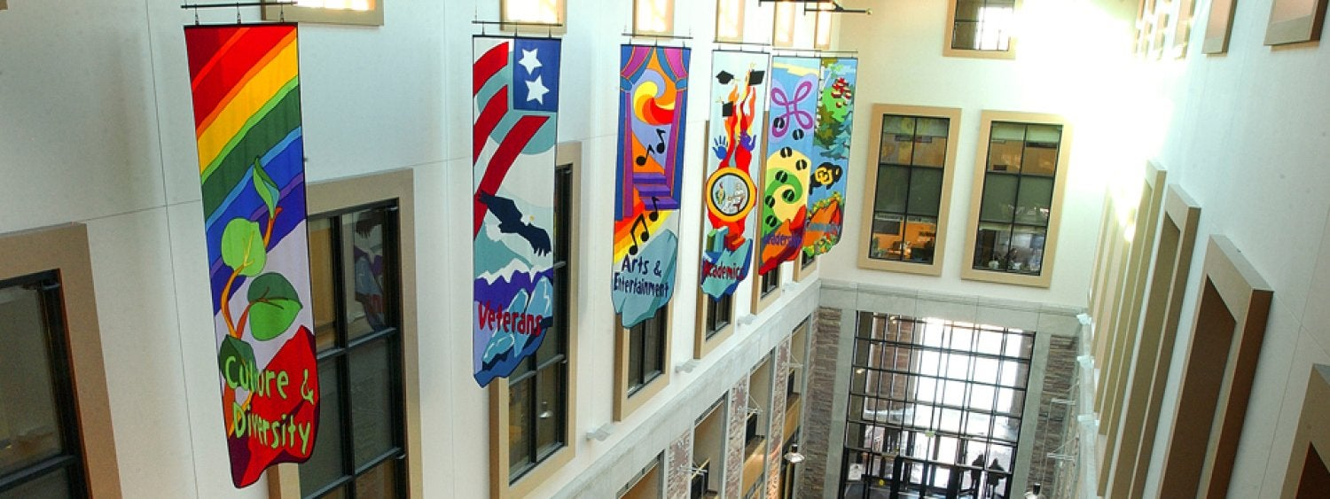 Colorful atrium banners hang in the UMC's massive atrium.