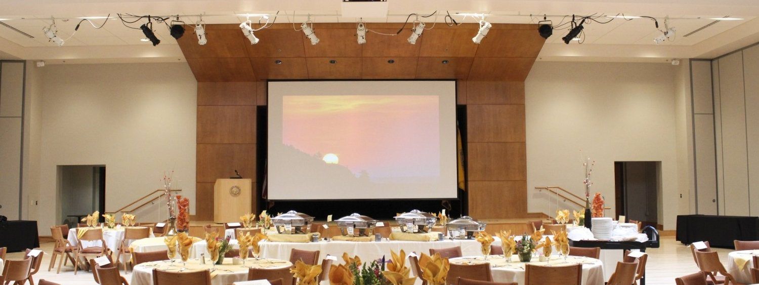 The Glenn Miller Ballroom with tables set for a banquet