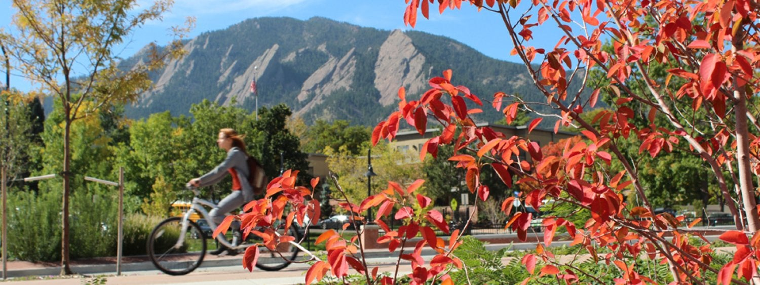 View of Flatirons from South side of the UMC, where there is a convenient bike path along the campus and Broadway