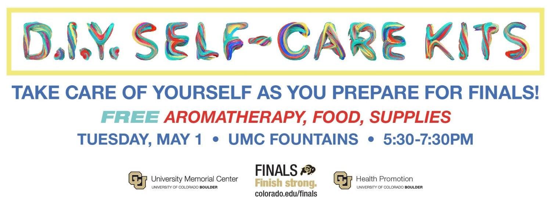 DIY Finals Self-Care Kits, Tuesday, May 1, 5:30-7:30 p.m., UMC Fountain Area