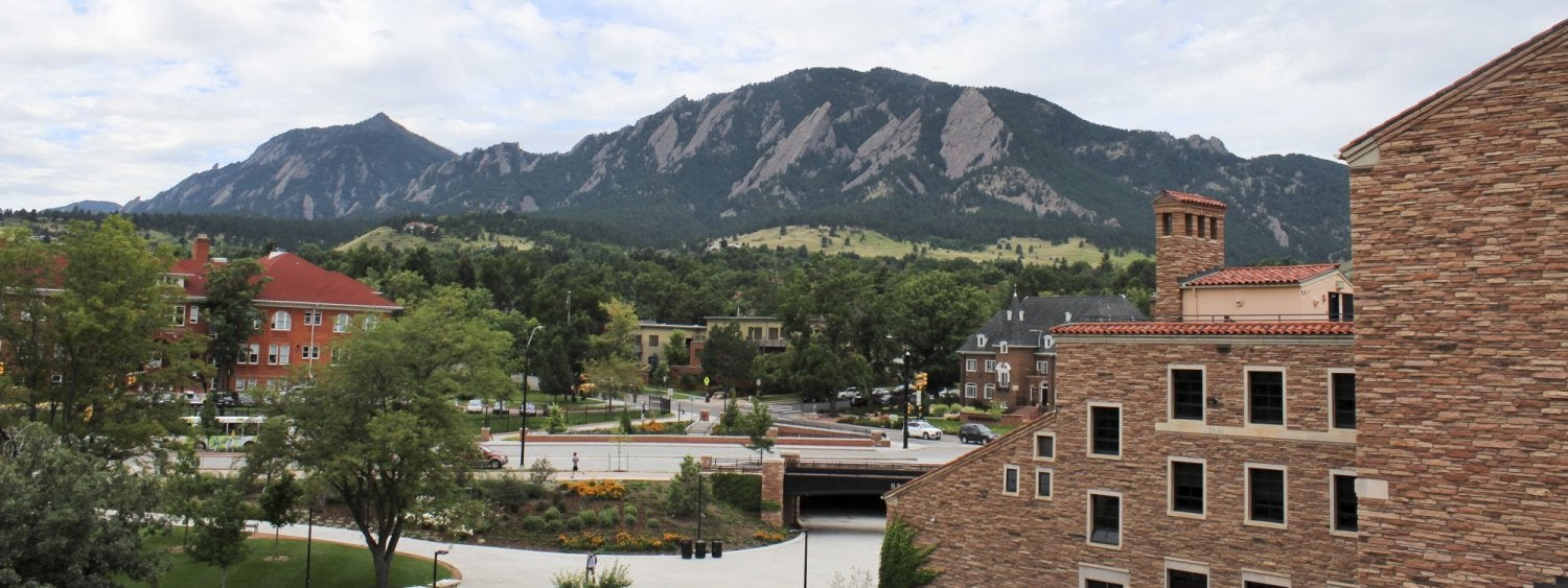 A view of the Flatirons from the top of the UMC