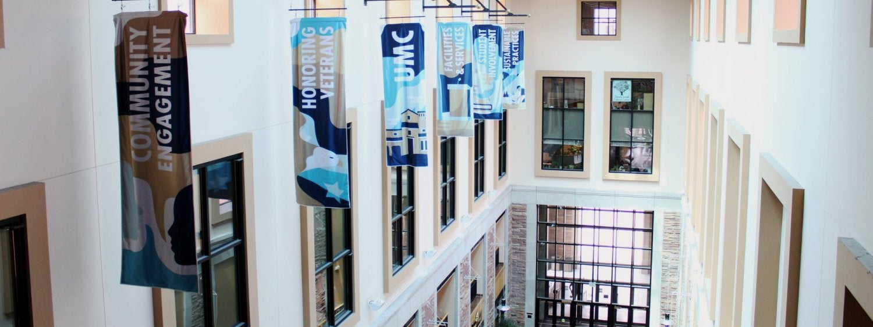 Colorful atrium banners hang in the UMC's massive atrium.