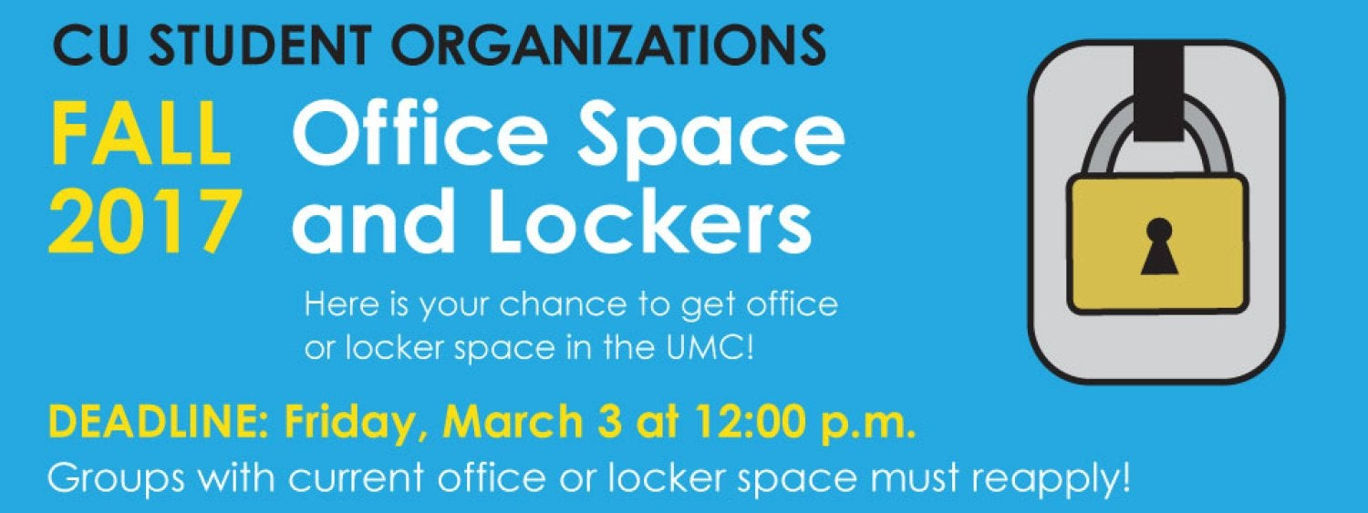 Student Organizations - Apply by March 3 for free office or locker space in the UMC
