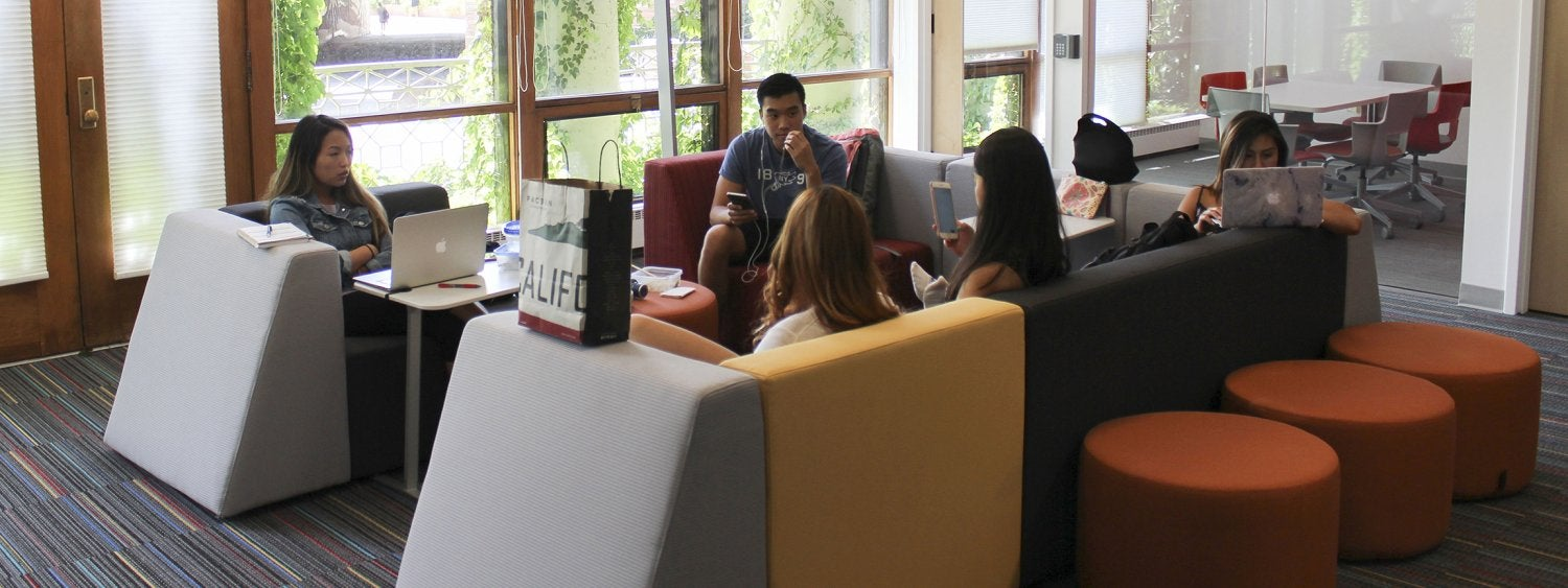 Students meet in the Student Engagement & Collaboration Area