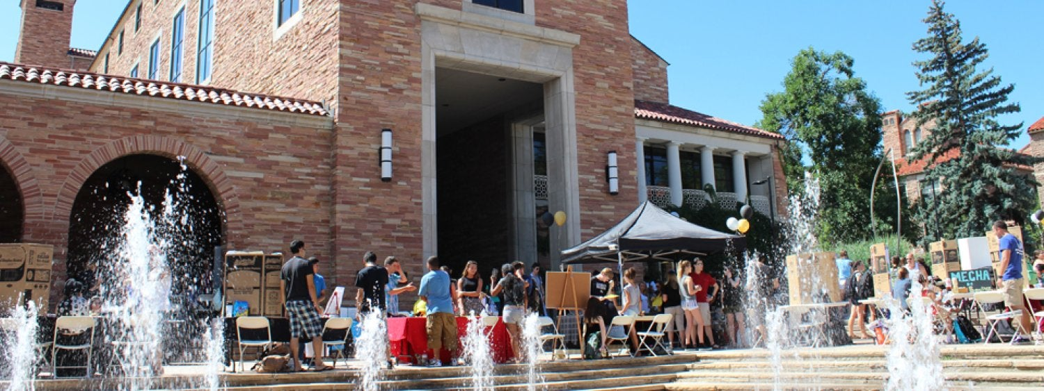 The north side of the UMC near the fountains is a popular spot for students to gather and hold outside events.