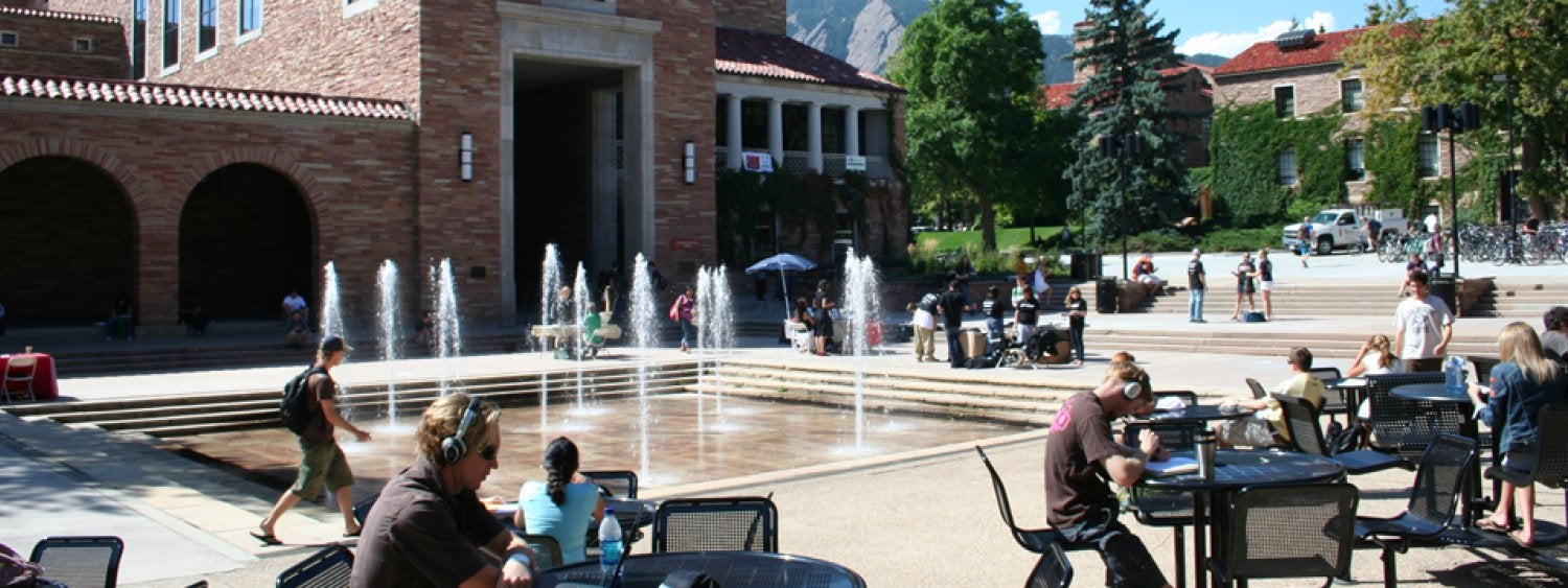 The fountains outside the UMC are a great place to relax, study or eat.