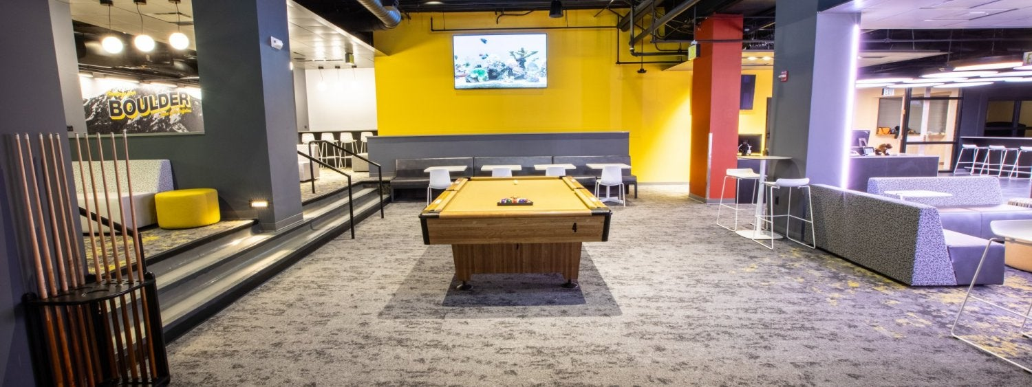 Billiards table inside The Connection