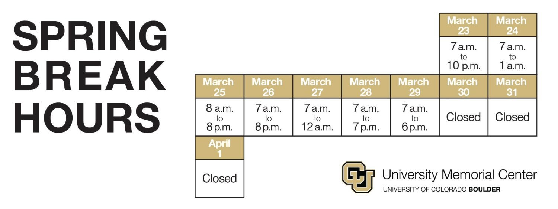 Spring Break Hours at the UMC