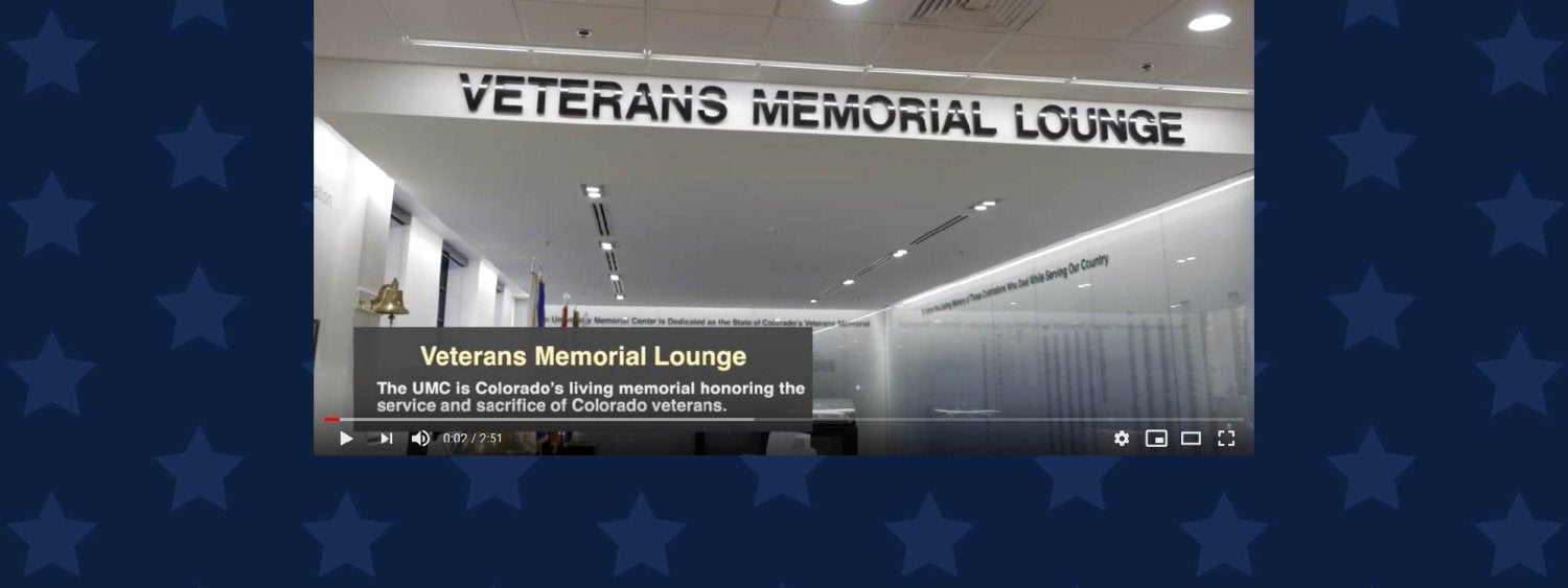 A still image from the video of the virtual tour of the Veterans Memorial Lounge