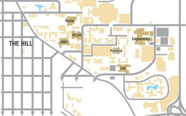 Map showing alternative dining locations
