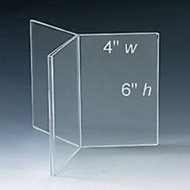 "Table tent frame showing 4"" wide x 6"" high"