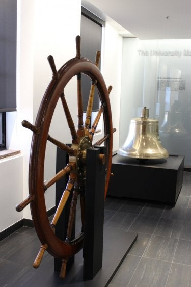 USS Colorado wheel and bell