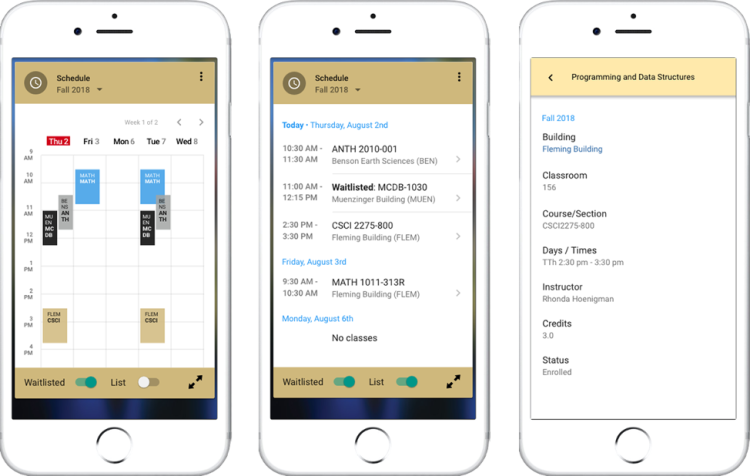 Mobile view of schedule