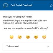 Screenshot of Buff Portal feedback card