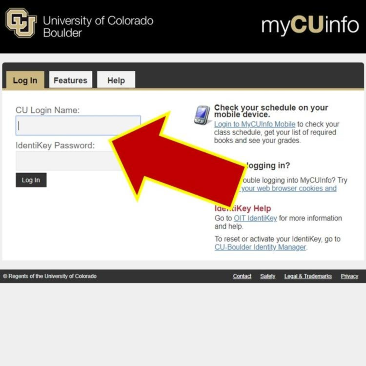 Screenshot showing the login page for myCUinfo