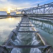 wastewater treatment plant at sunset