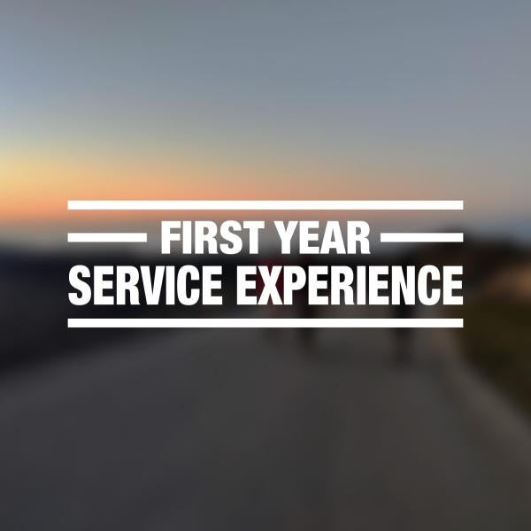 """blurry group sunset photo with """"first year service experience"""" overlayed"""