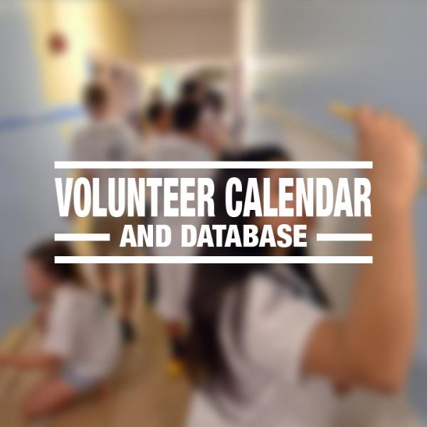 """White text reading """"volunteer calendar and database"""" over a faded photo of volunteers painting a wall"""