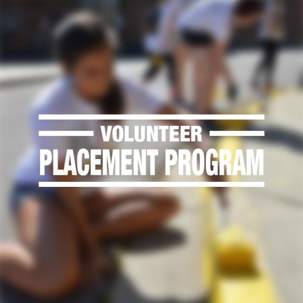 """White text reading """"volunteer placement program"""" over a faded photo of volunteers painting curbs of a sidewalk"""