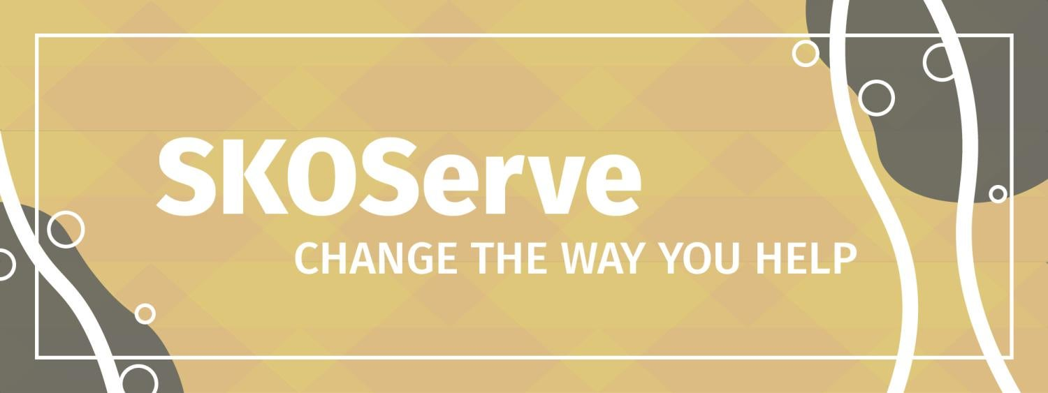 "SKOServe in white text with ""change the way you help"" under it, background of yellow and orange, white and dark gray organic accents on the sides"
