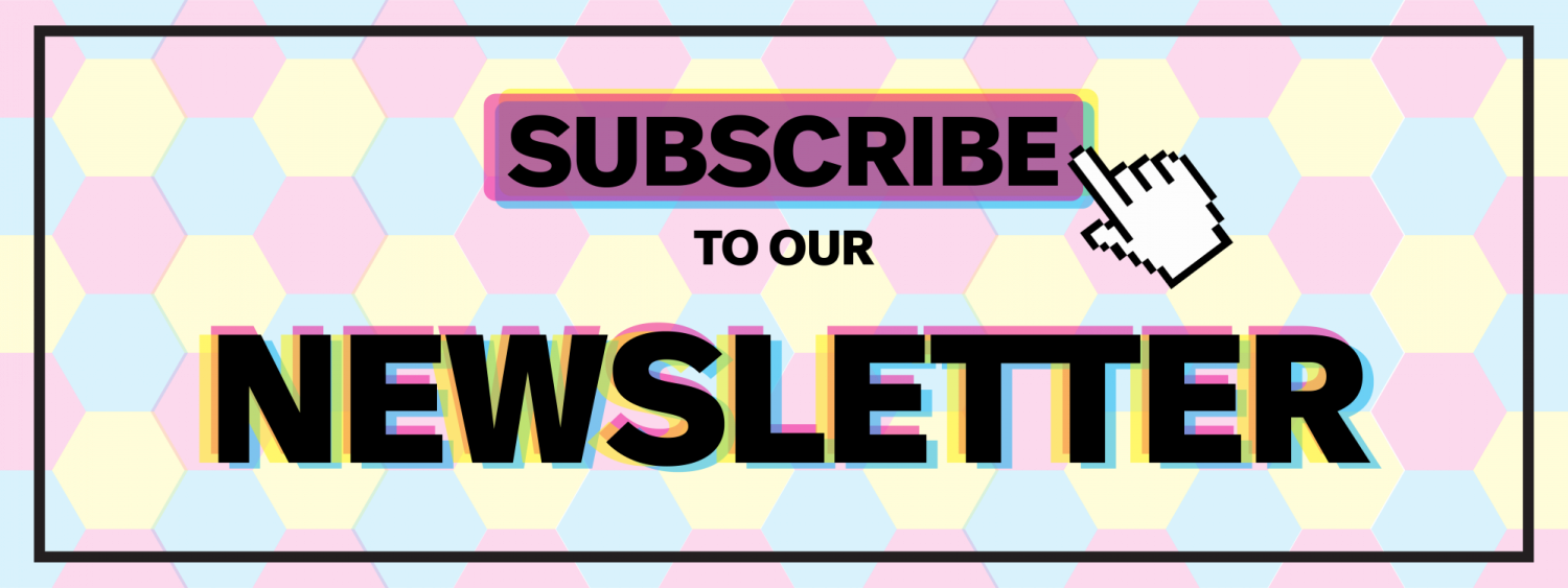 Subscribe button with a mouse pointer on it with the words to our newsletter below it, background with colorful hexagons