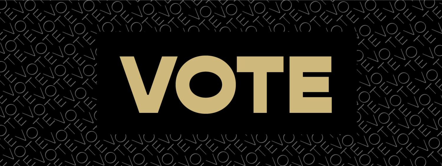 """Gold """"Vote"""" in the center with black around it, smaller """"vote"""" throughout the page in white"""