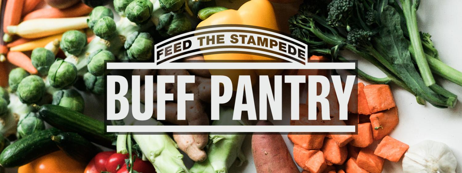 A picture of a variety of vegetables in the background such as brussle sprouts, carrots, yellow peppers, sweet potatoes, broccoi, and the words Feed the Stampede in an arc over the larger font in white Buff Pantry.