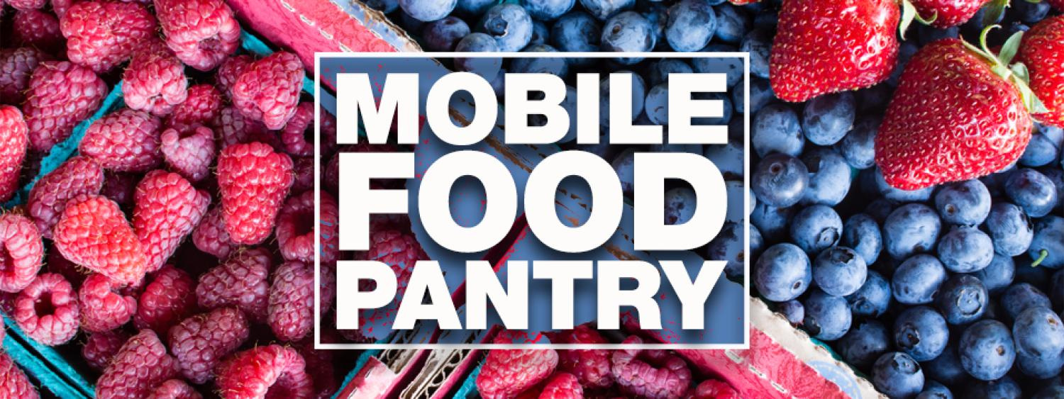 """Photo of raspberries, blueberries, and strawberries with the text """"Mobile Fodo Pantry"""" in the foreground."""