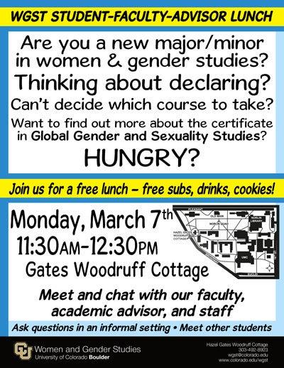 student faculty advisor lunch women gender studies university