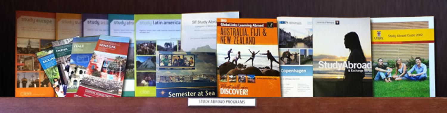 Various study abroad brochure options